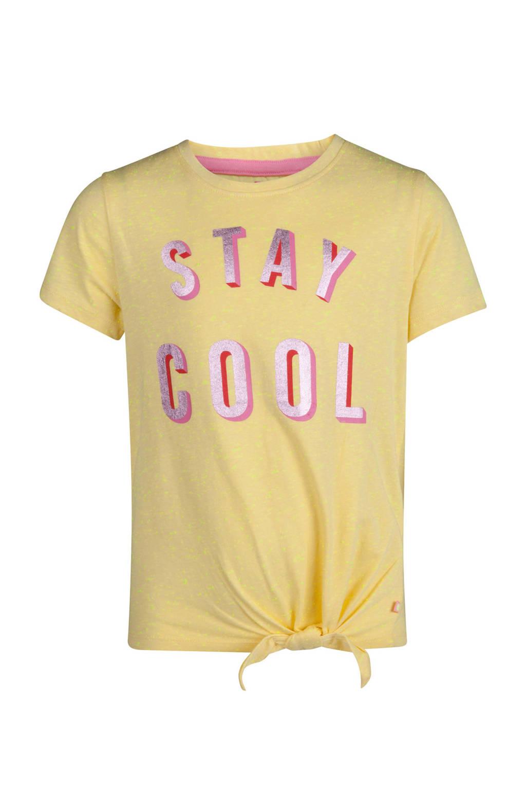 WE Fashion T-shirt met tekstopdruk geel, Fluo Yellow