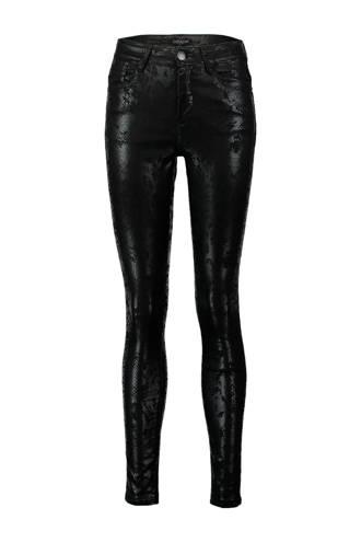 coated skinny broek met slangen print