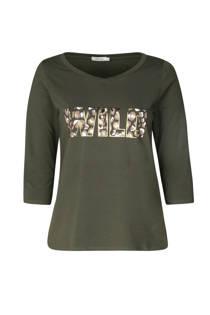 Paprika T-shirt met tekst kaki