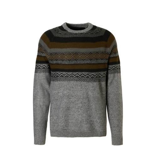 gemêleerde trui met print grijs