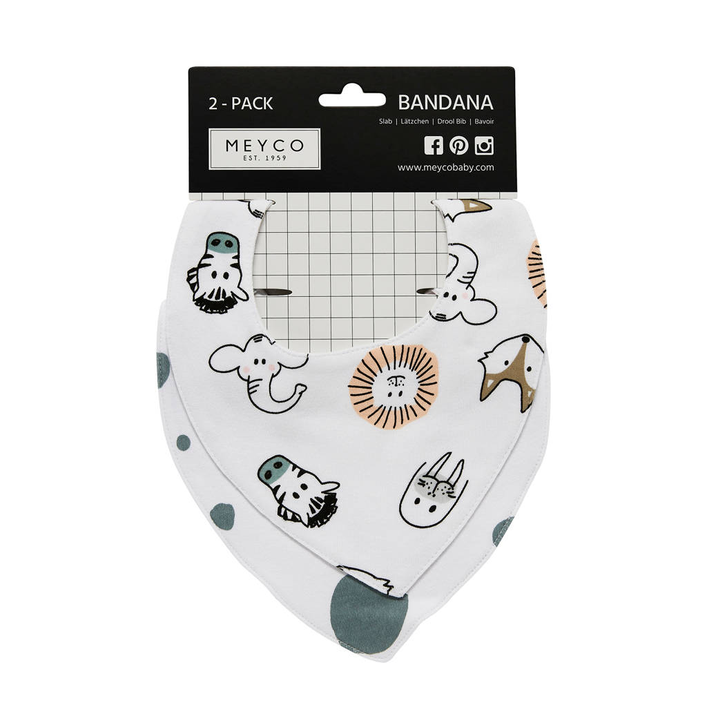 Meyco bandana (set van 2) animal/dots, Wit/grijs/zwart