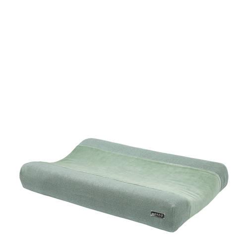 Meyco aankleedkussenhoes Knit basic deluxe stone green 50x70 cm