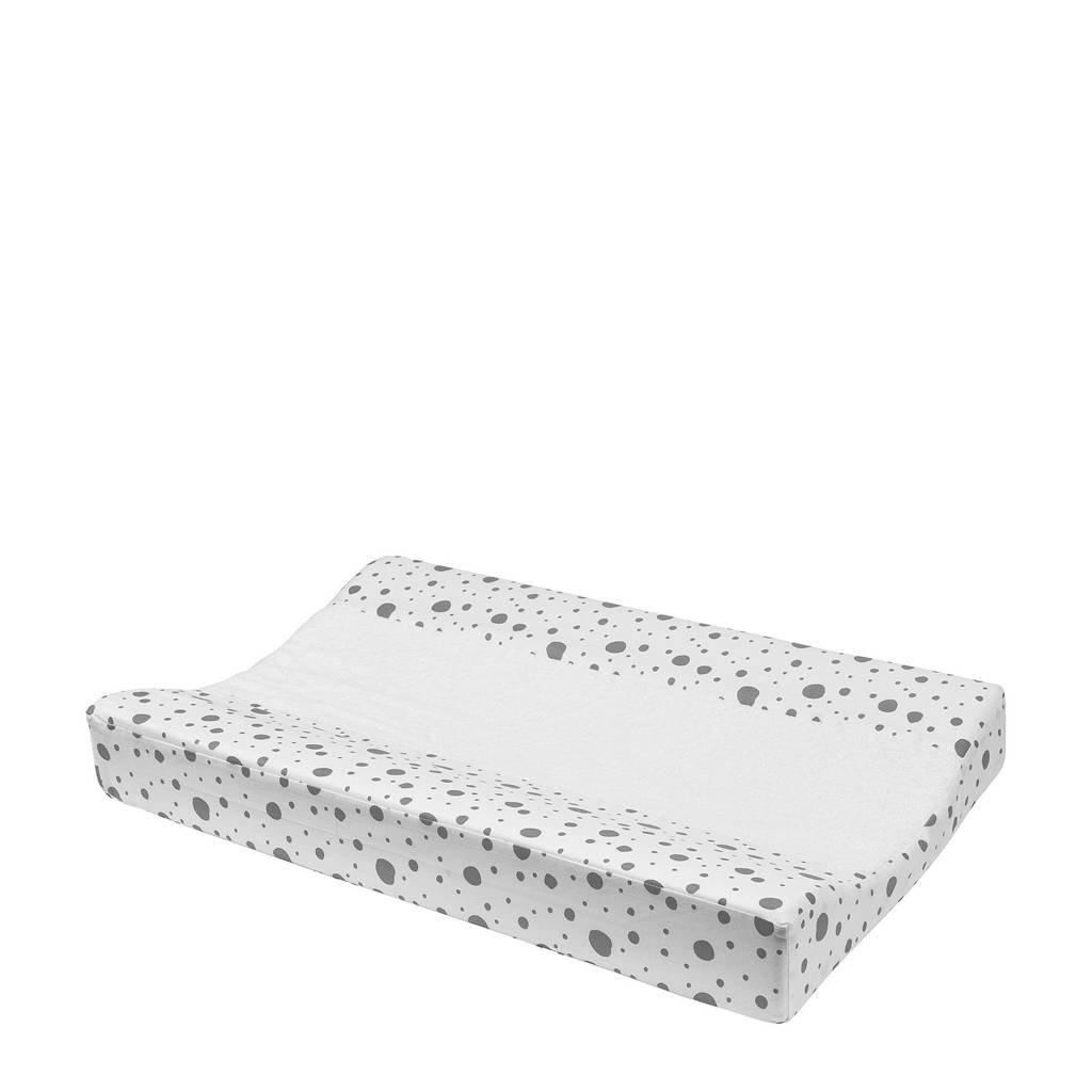 Meyco Dots aankleedkussenhoes 70x50 cm wit/grijs, Wit/grijs