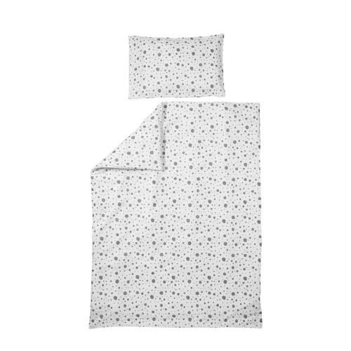 Meyco Dots dekbedovertrek ledikant 100x135 cm wit/grijs kopen