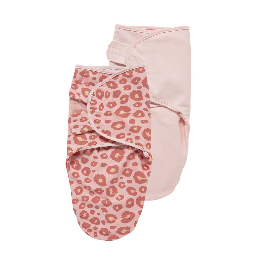 Meyco Panter inbakerdoek 0-3 mnd (set van 2) roze, Lichtroze/donkerroze