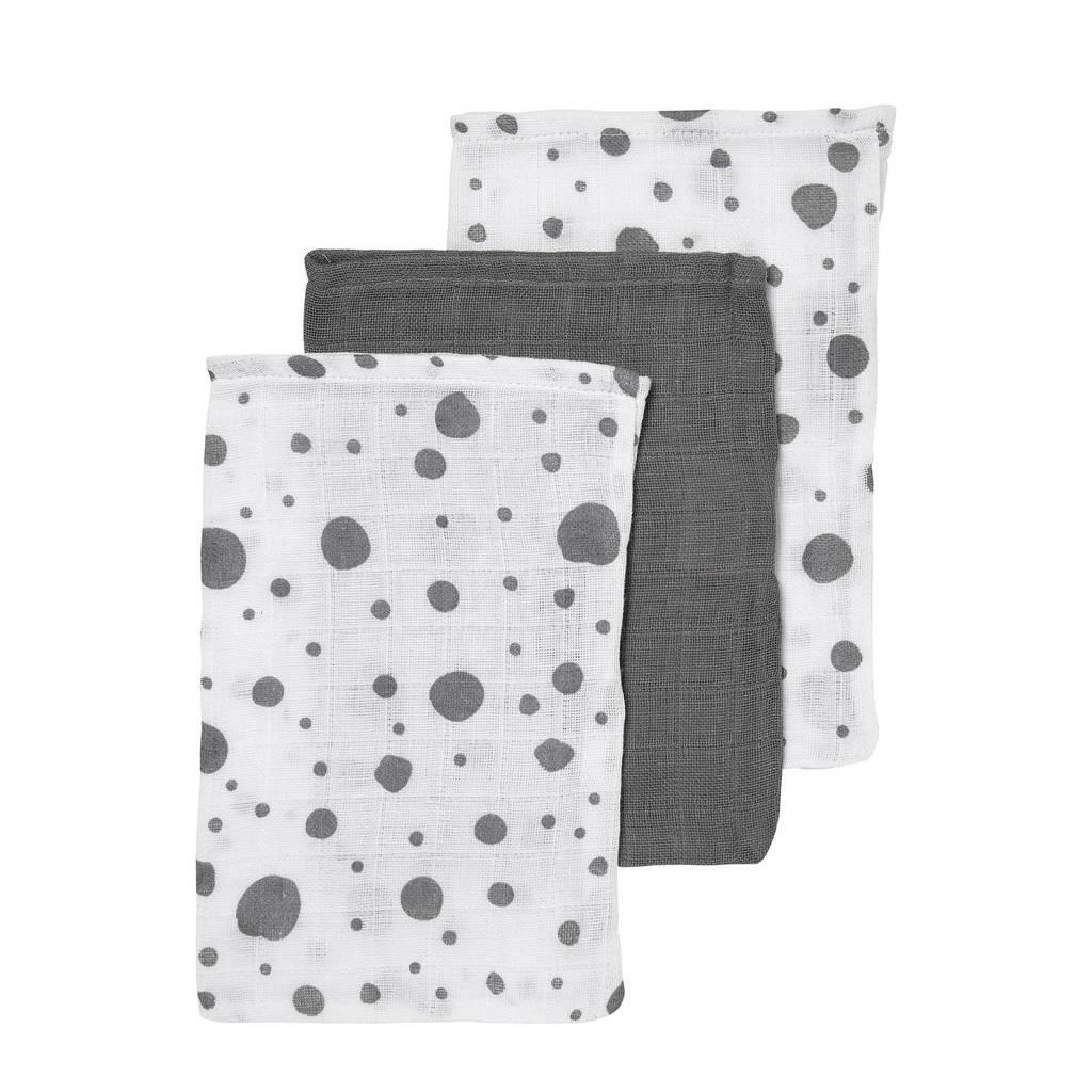 Meyco hydrofiele washandjes (set van 3) dots/uni, Grijs/wit