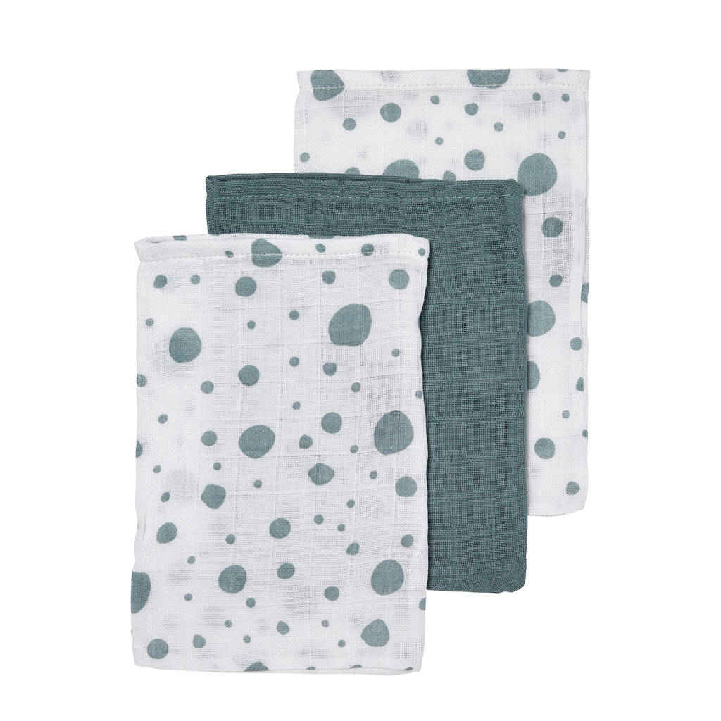 Meyco hydrofiele washandjes (set van 3) dots/uni, Groen/wit