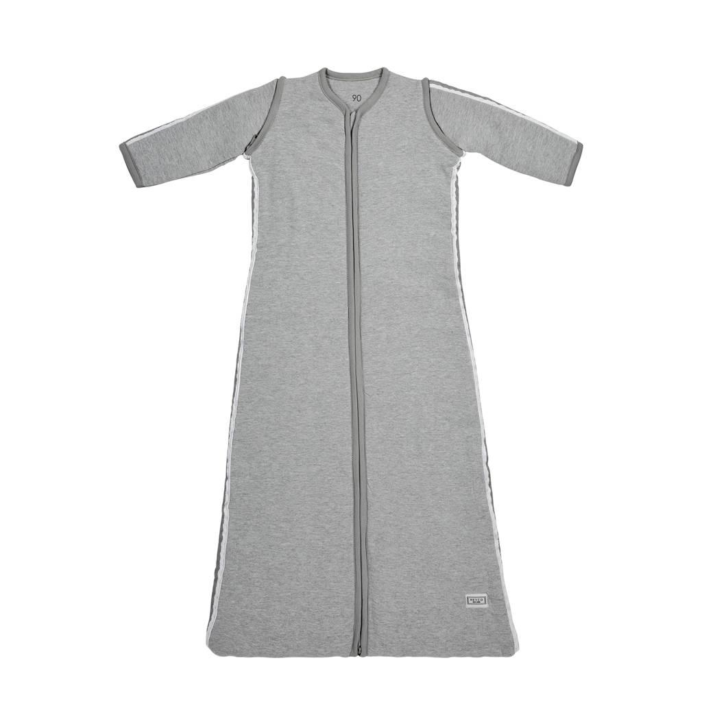 Meyco Basic deluxe slaapzak 110 cm grijs bies grijs, Grijs/Grijs