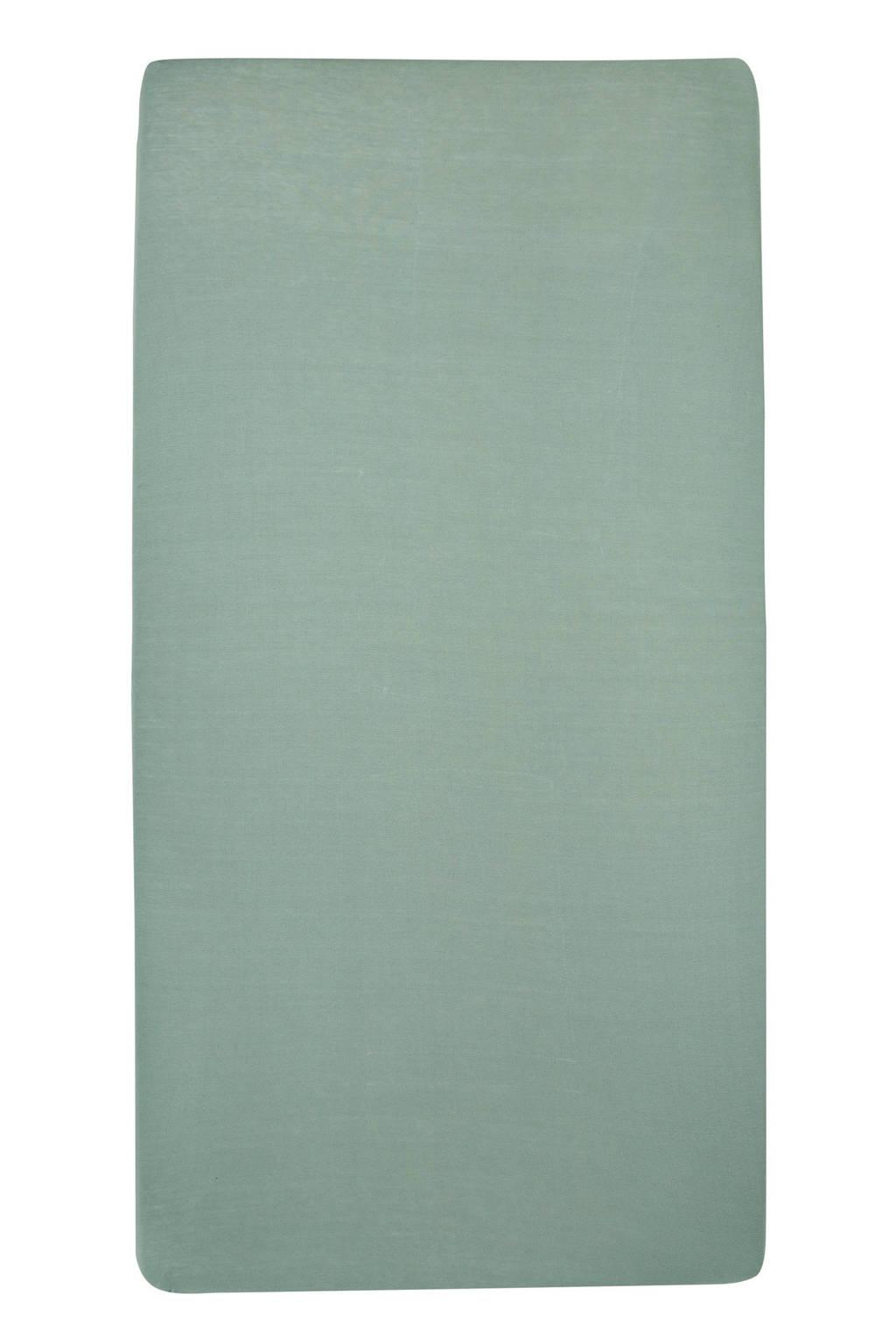 Meyco katoenen hoeslaken wieg 40x80/90 cm (set van 2) Stone green, Stone Green