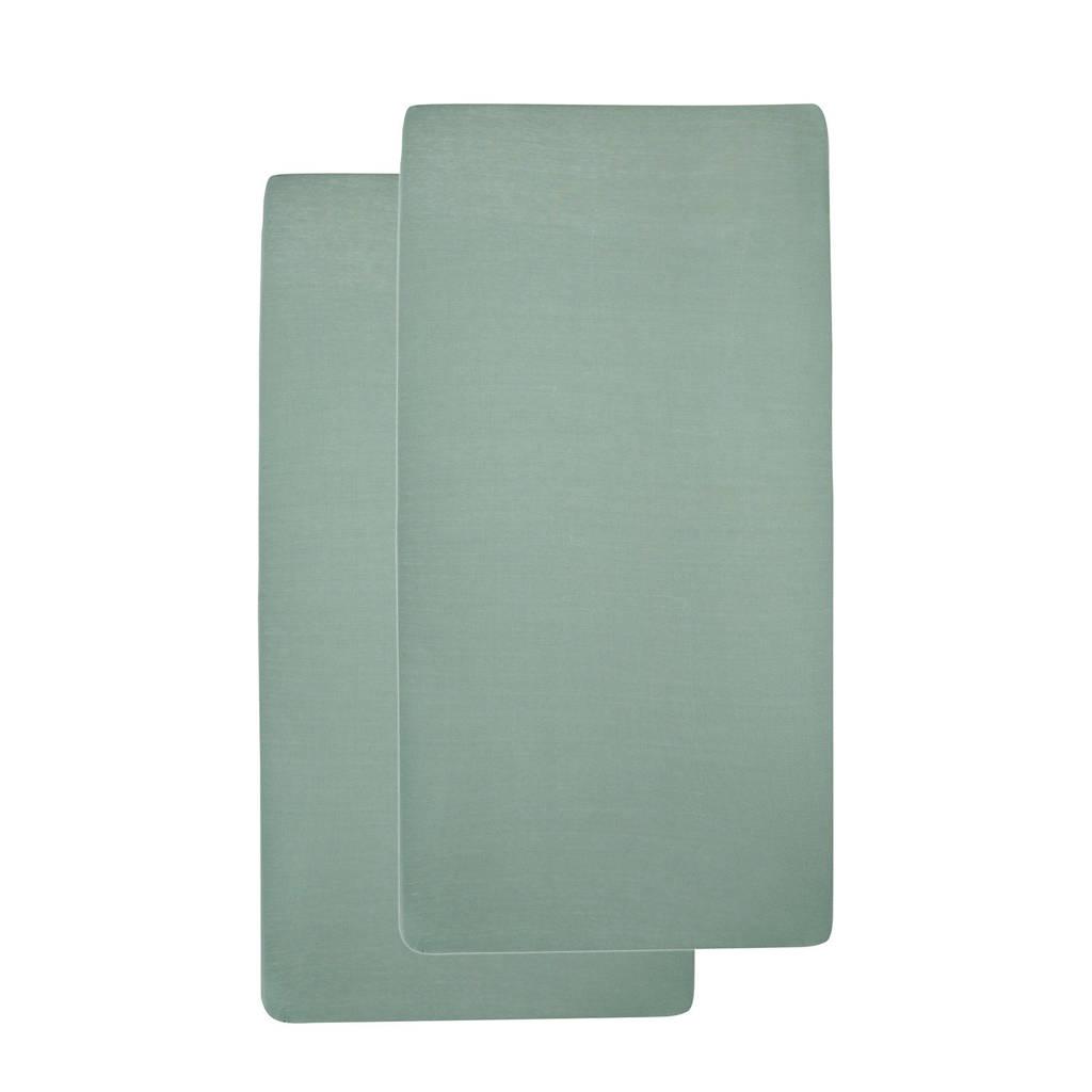 Meyco katoenen hoeslaken peuterbed 70x140/150 (set van 2) Stone green, Stone Green