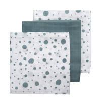 Meyco hydrofiele swaddles 120x120 cm (set van 3) dots/uni, Groen/wit