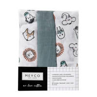 Meyco hydrofiele luiers 70x70 cm (set van 3) animal/uni, Groen/wit/bruin
