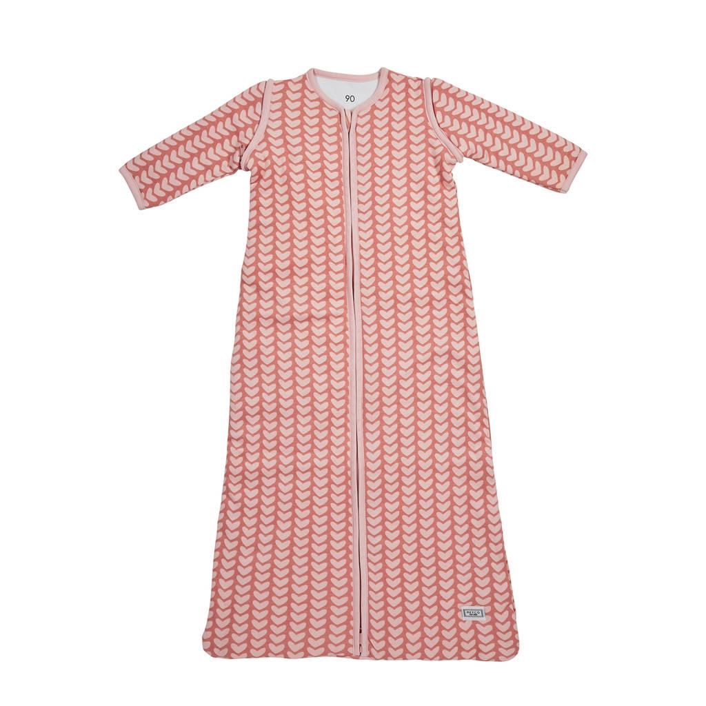 Meyco Knitted Heart baby slaapzak 70 cm roze