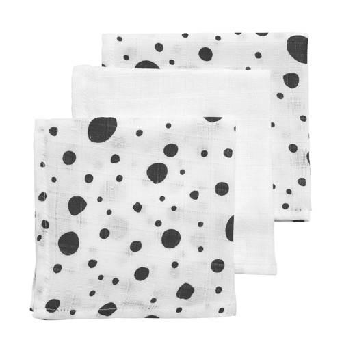 Meyco hydrofiele monddoekjes 30x30 cm (set van 3) dots/uni
