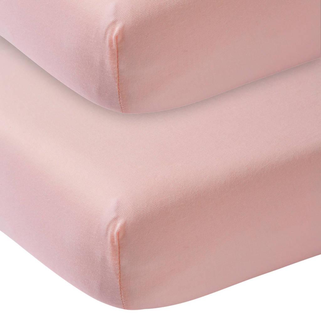 Meyco katoenen hoeslaken ledikant 60x120 cm (set van 2) Oudroze