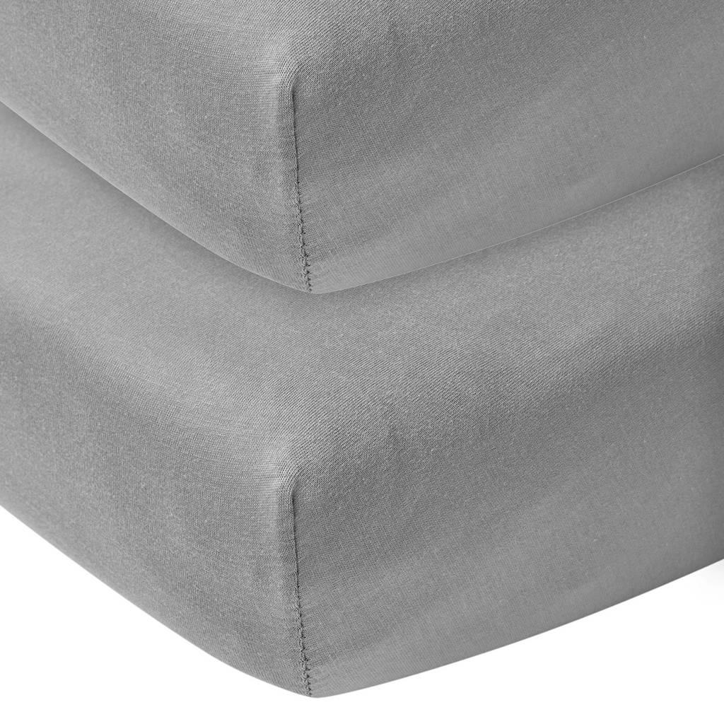 Meyco katoenen hoeslaken ledikant 60x120 cm (set van 2) Grijs