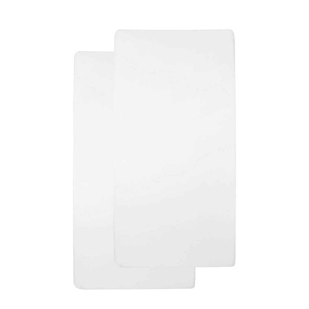 Meyco katoenen hoeslaken ledikant 60x120 cm (set van 2), Wit