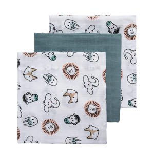 hydrofiele swaddles 120x120 cm (set van 3) animal/uni