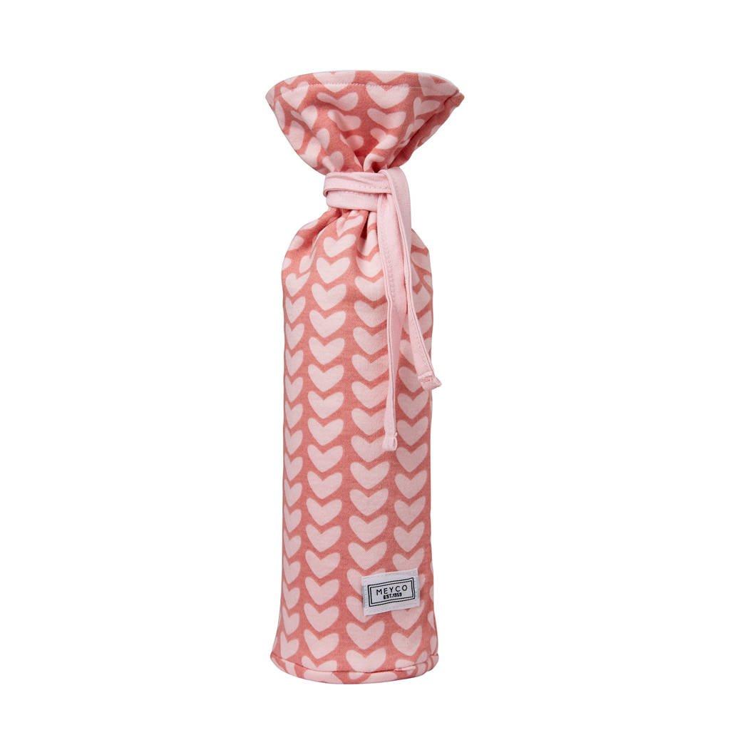 Meyco Knitted Heart kruikenzak oudroze, Oudroze/lichtroze