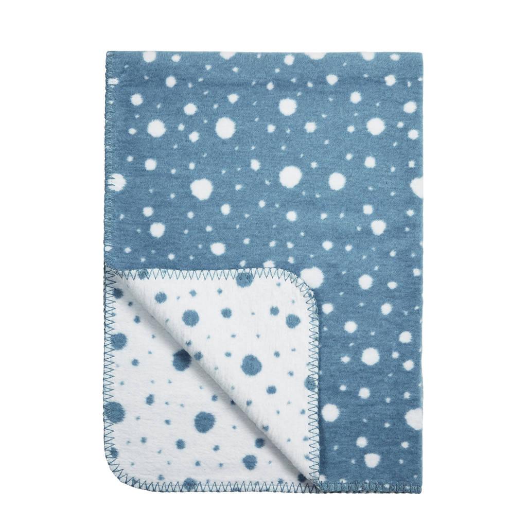 Meyco Dots ledikantdeken 120x150 cm wit/jeans, Denimblauw/wit