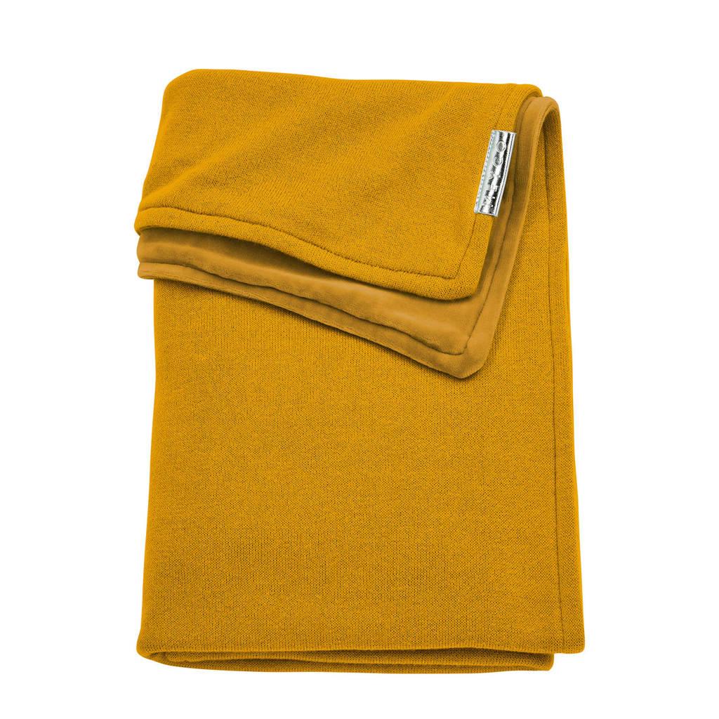 Meyco Knit Basic wiegdeken met velours 75x100 cm oker, Okergeel