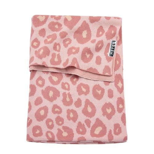 gebreide ledikantdeken panter roze 100x150 cm