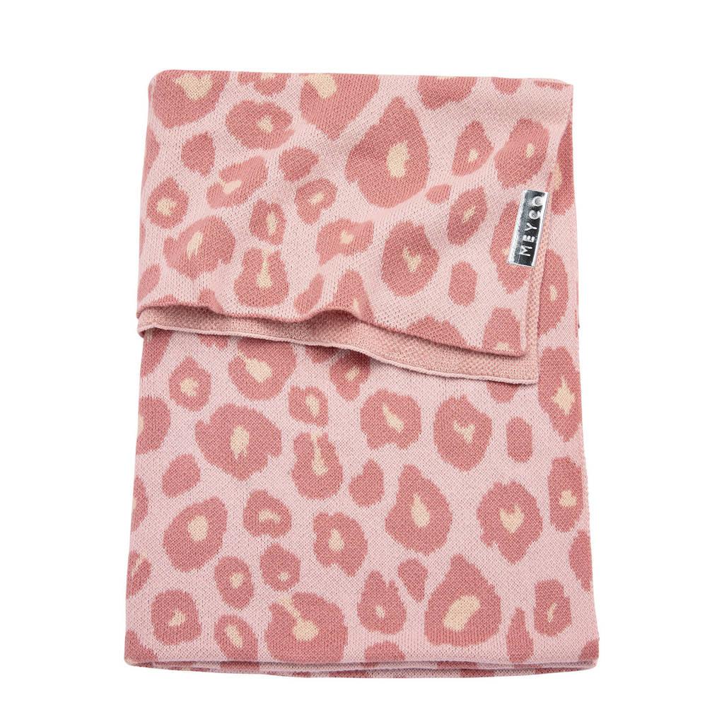 Meyco Panter gebreide baby ledikantdeken 100x150 cm roze, Roze