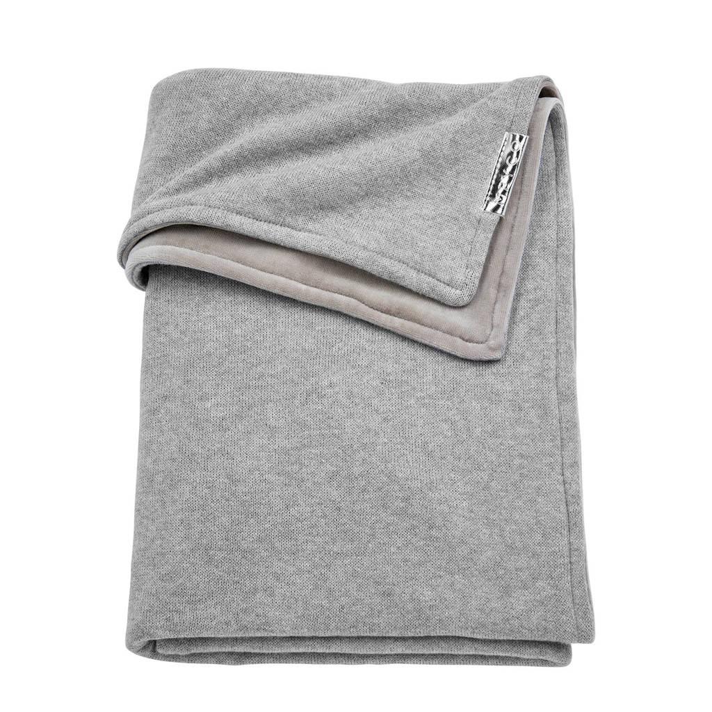 Meyco Knit Basic wiegdeken met velours 75x100 cm grijs, Grijs