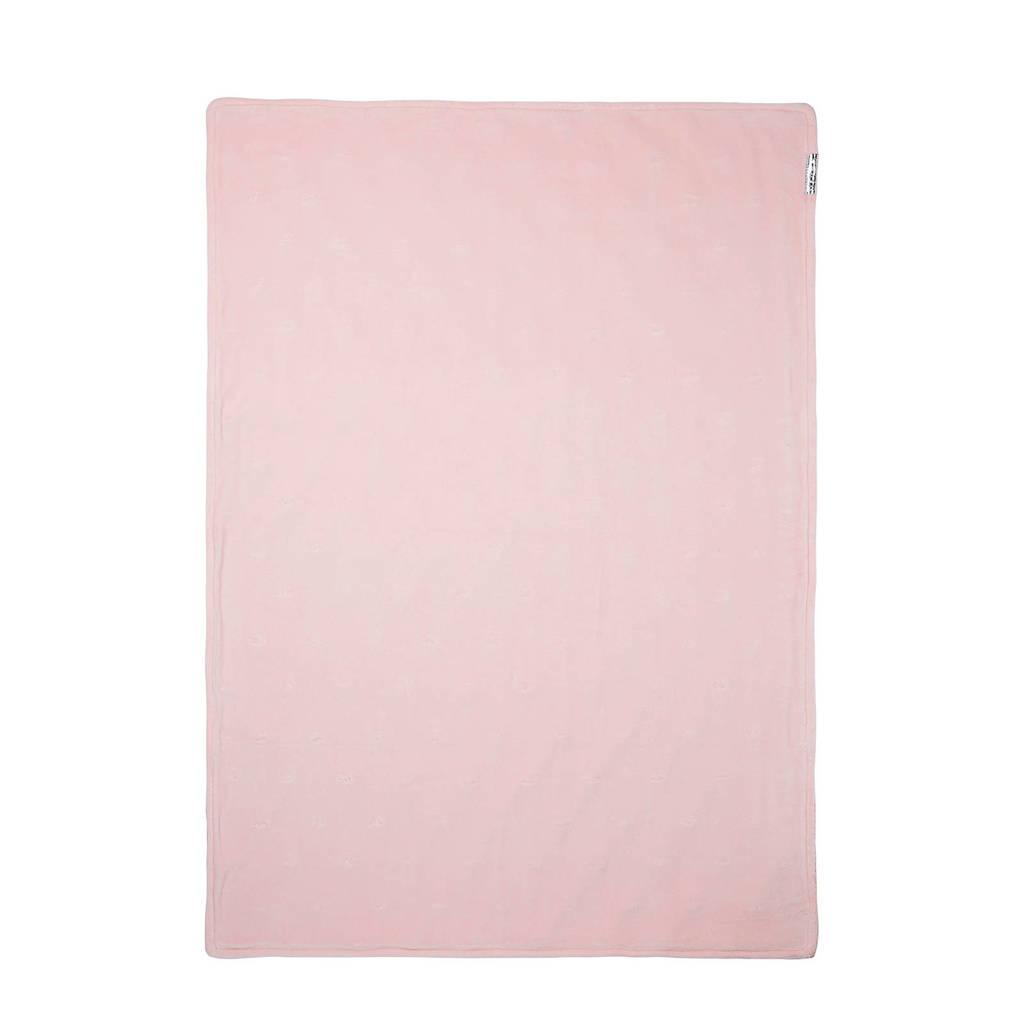 Meyco Silverline wiegdeken knots roze 75x100 cm, Roze