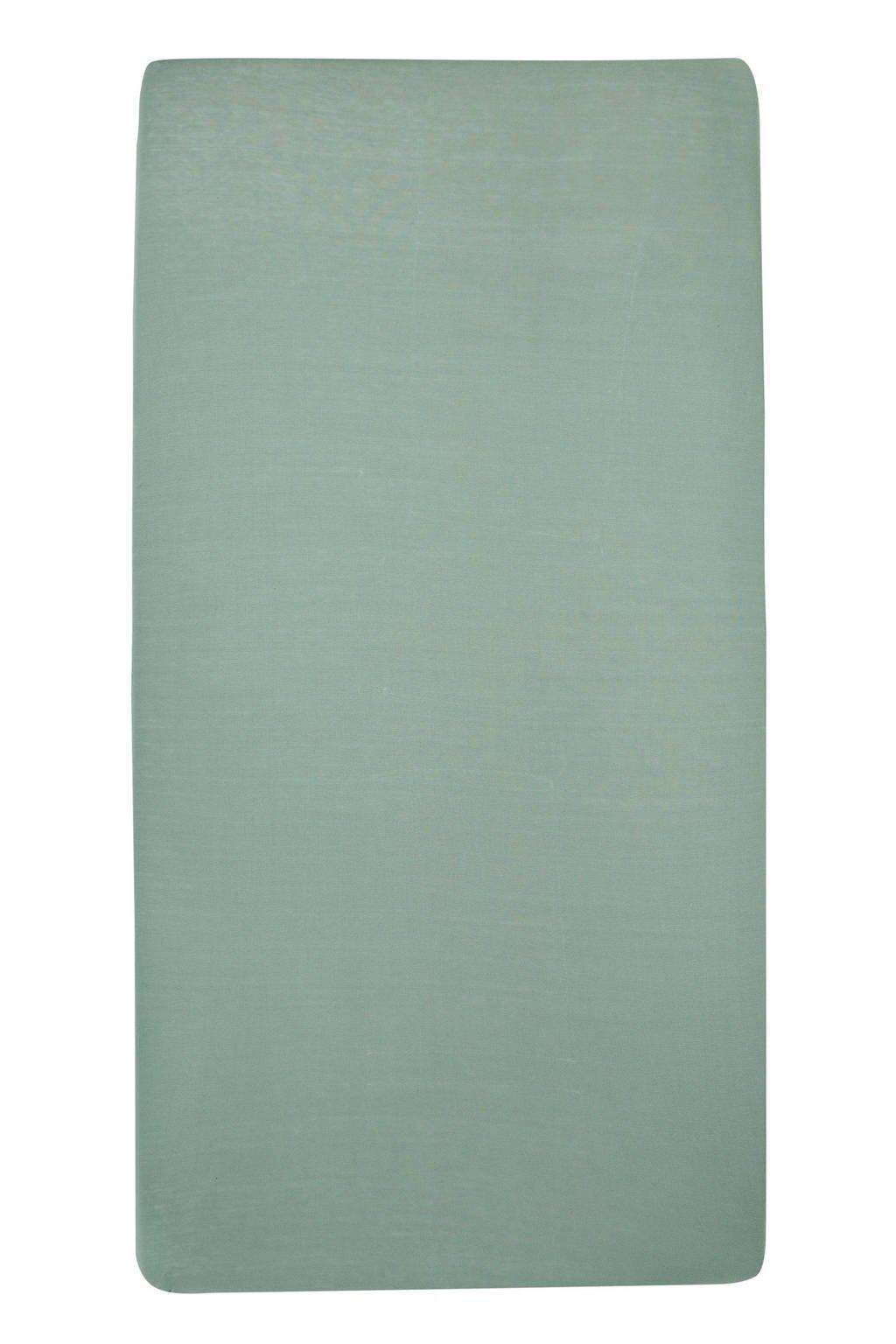 Meyco katoenen hoeslaken ledikant 60x120 cm (set van 2) Stone green, Stone Green