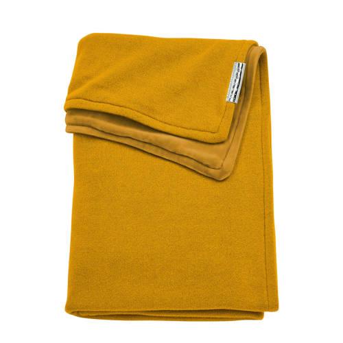 Meyco Knit Basic ledikantdeken met velours 100x150 cm okergeel kopen
