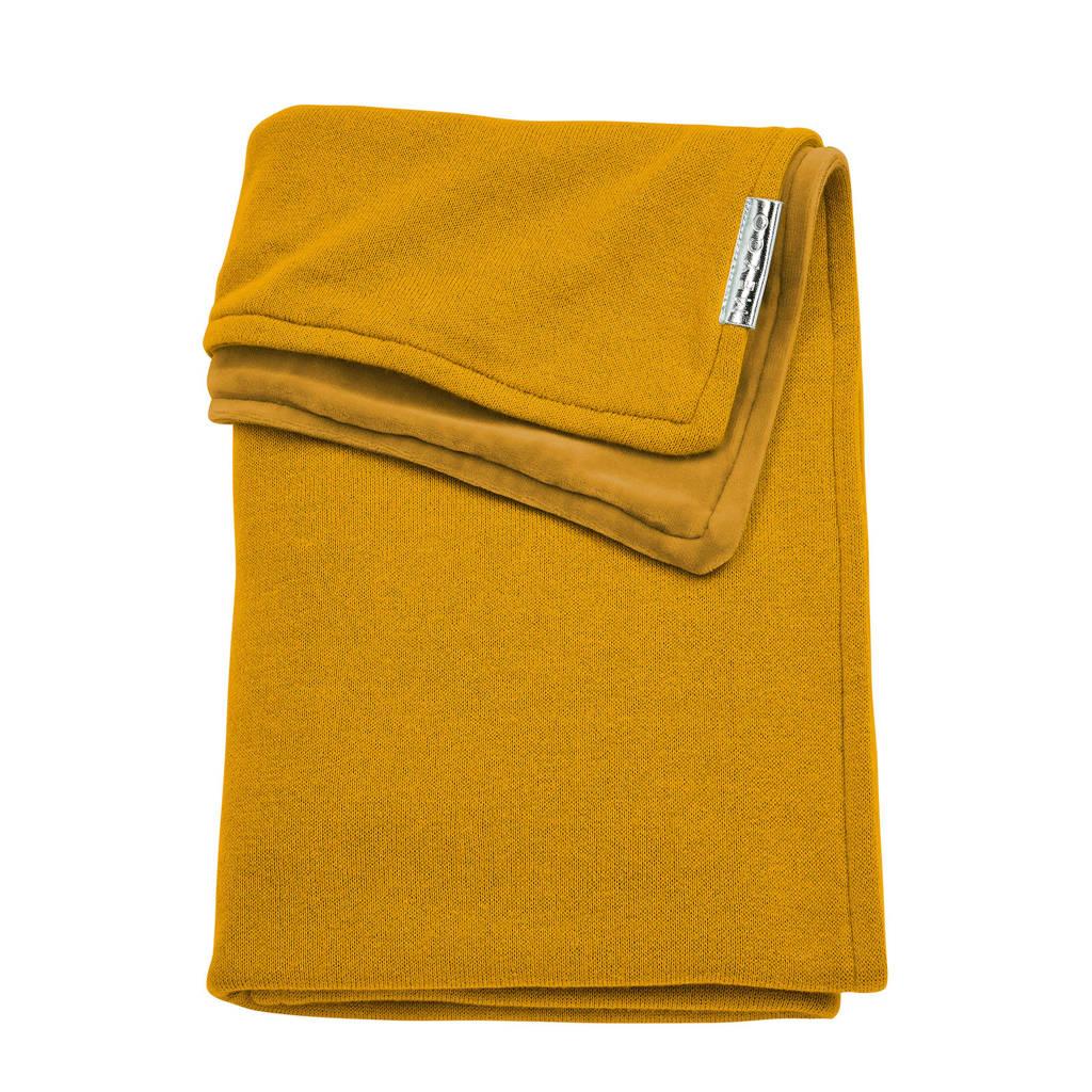 Meyco Knit Basic ledikantdeken met velours 100x150 cm okergeel, Okergeel