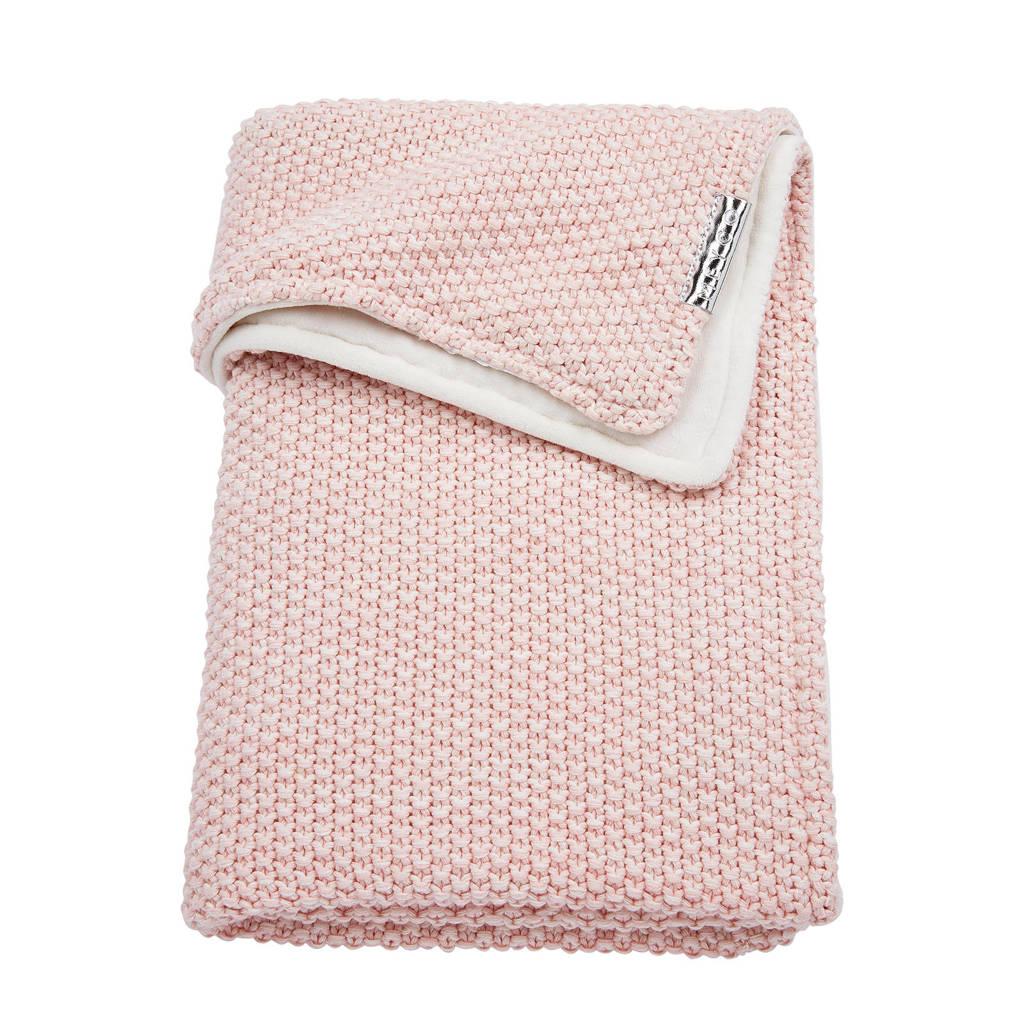 Meyco Relief Mixed ledikantdeken met velours 100x150 cm roze, Roze