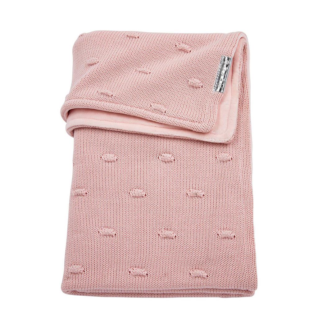 Meyco Silverline Knots ledikantdeken met velours 100x150 cm roze, Roze