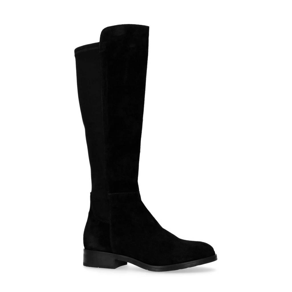Manfield suède laarzen zwart, Zwart