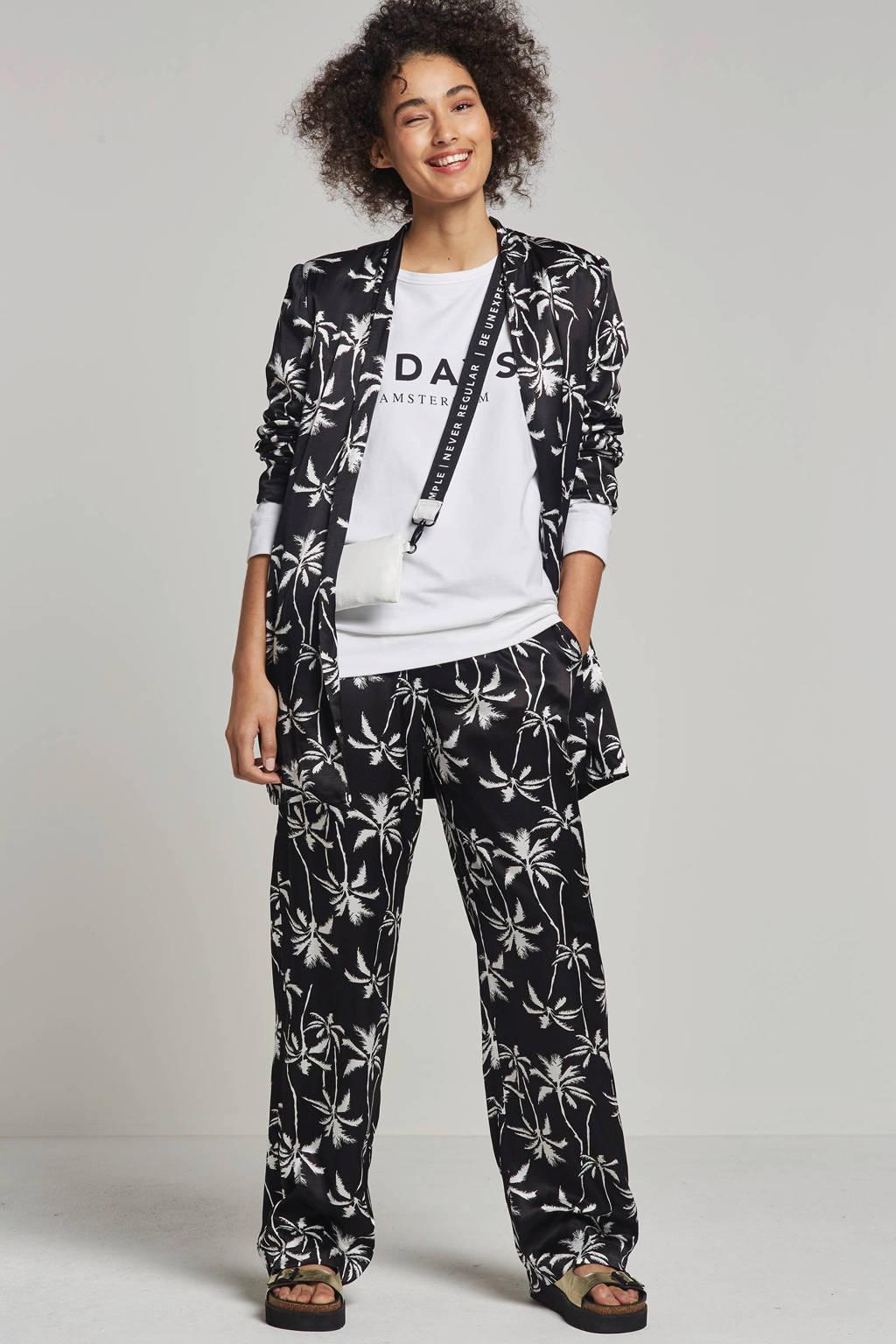 10DAYS loose fit broek met all over print, Zwart/wit