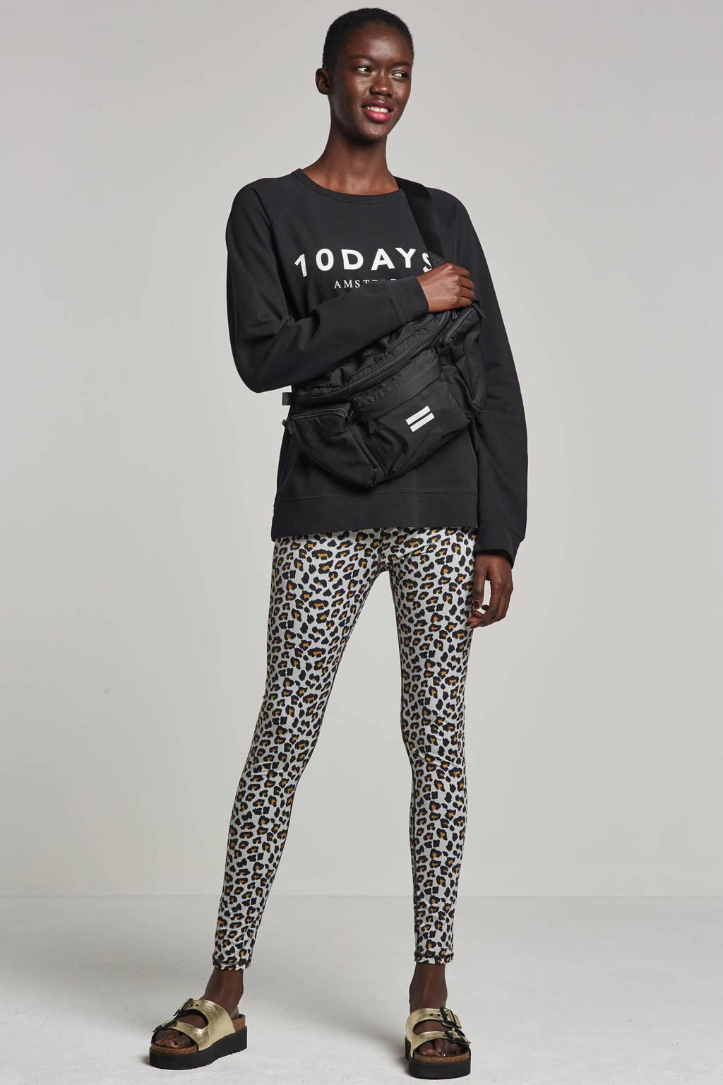10DAYS sweater met logo opdruk, Zwart