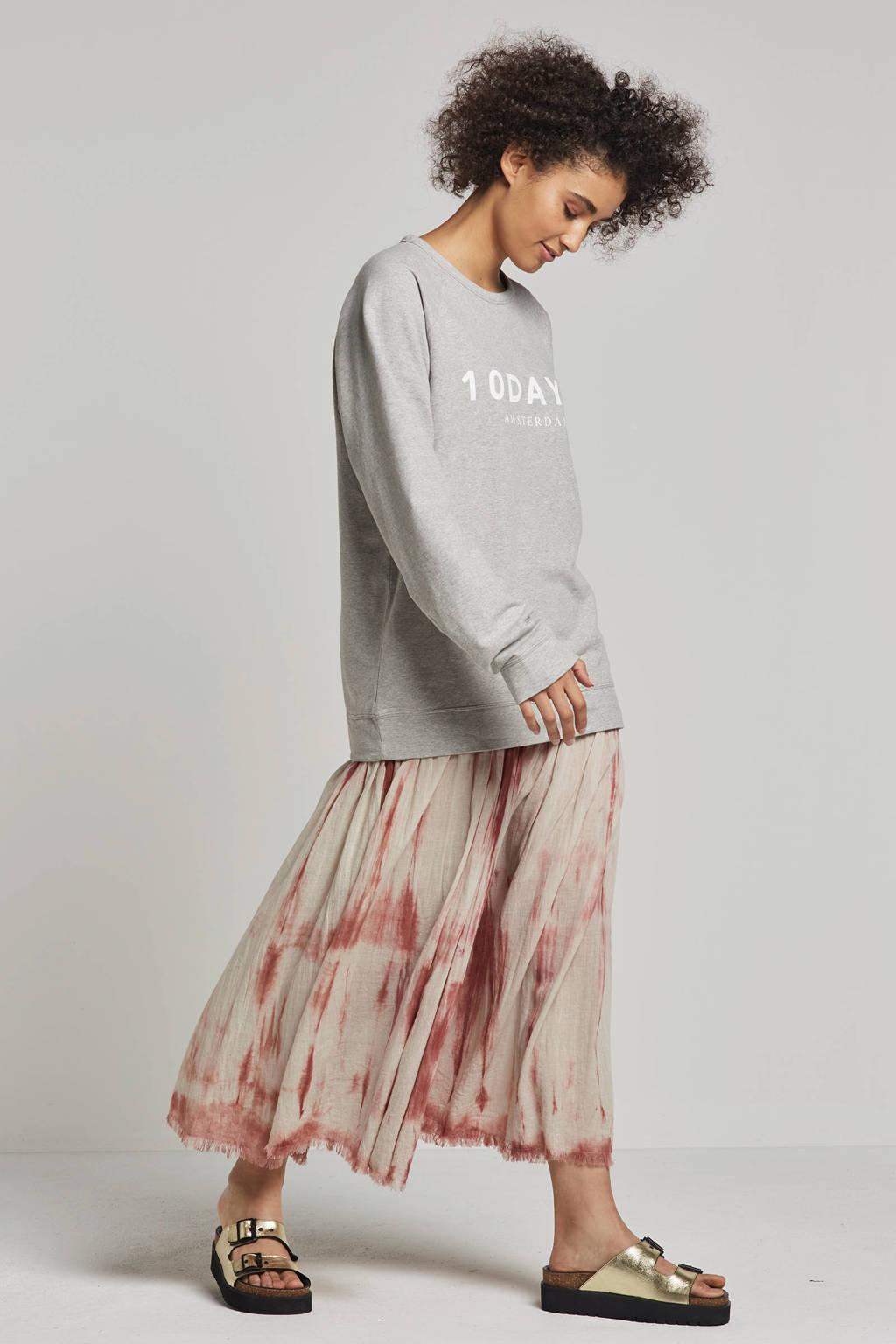 10DAYS sweater met printopdruk, Lichtgrijs/wit