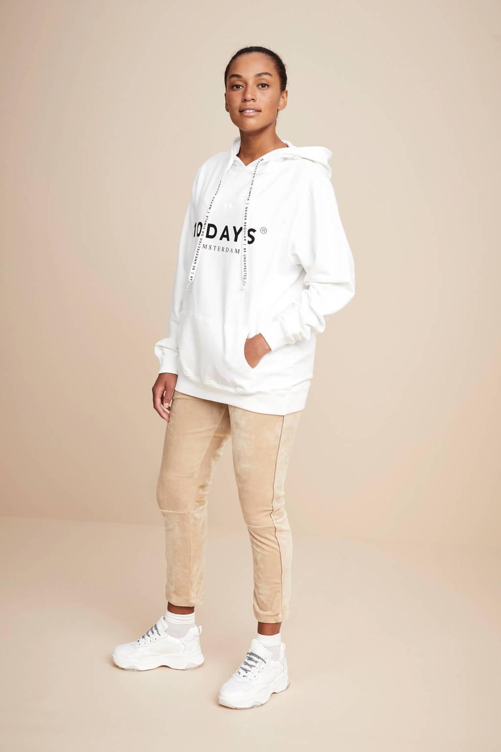 10DAYS hoodie met printopdruk, Wit/zwart