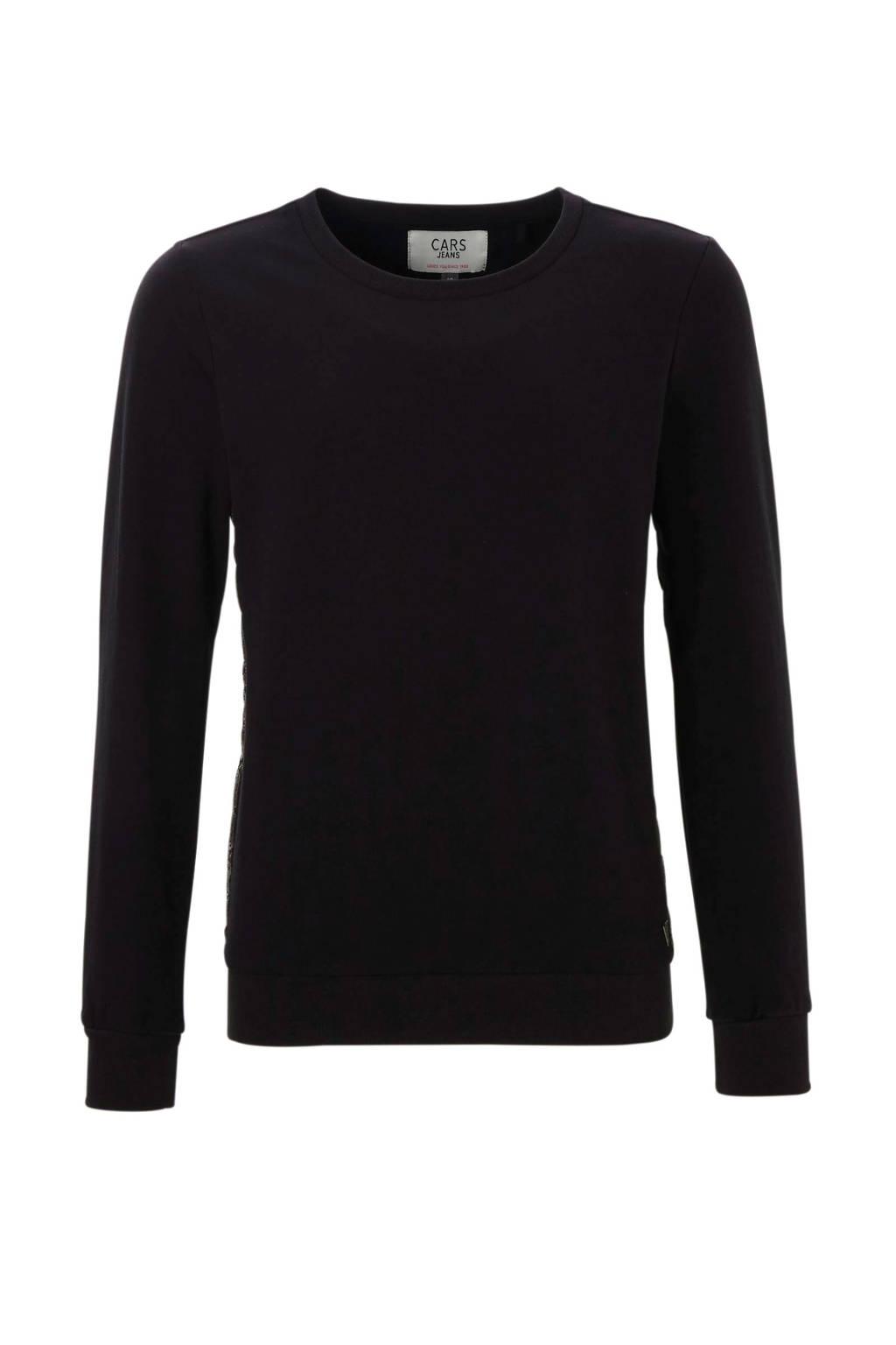 Cars sweater met contrastbies zwart, Zwart/slang