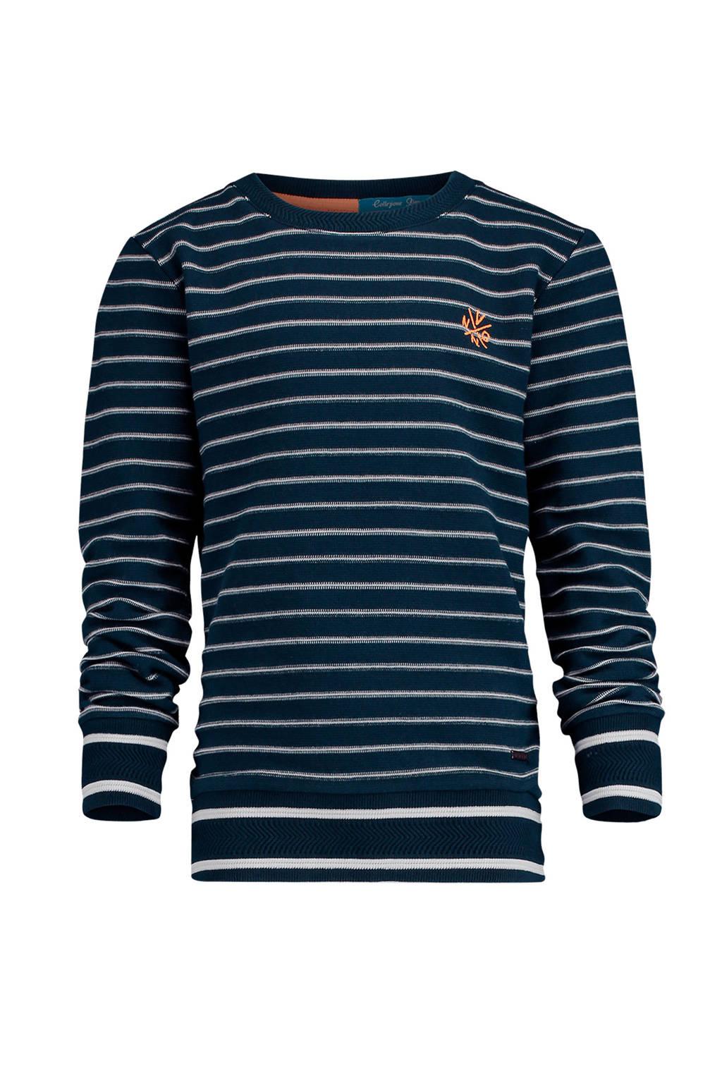 Vingino gestreepte sweater Nadjero donkerblauw, Donkerblauw/wit