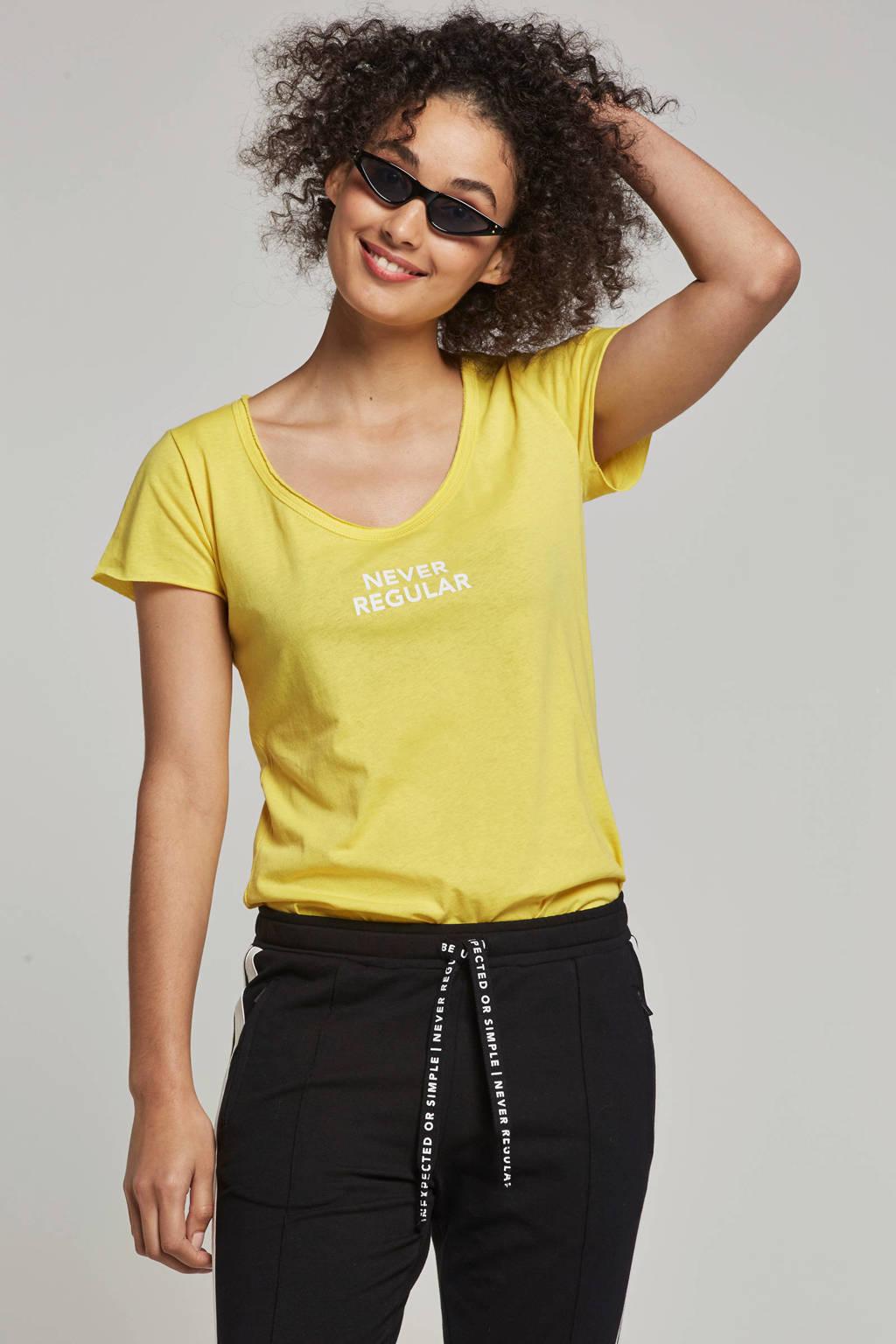 10DAYS T-shirt met printopdruk, Geel