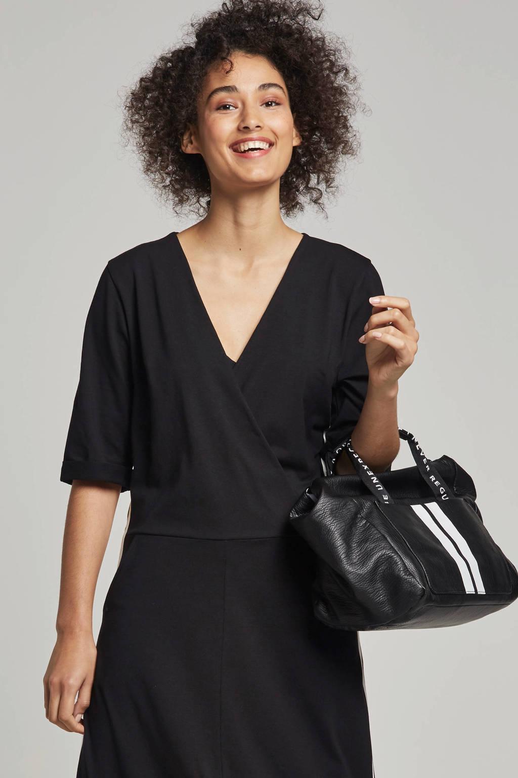 10DAYS jurk met zijstreep, Zwart/wit