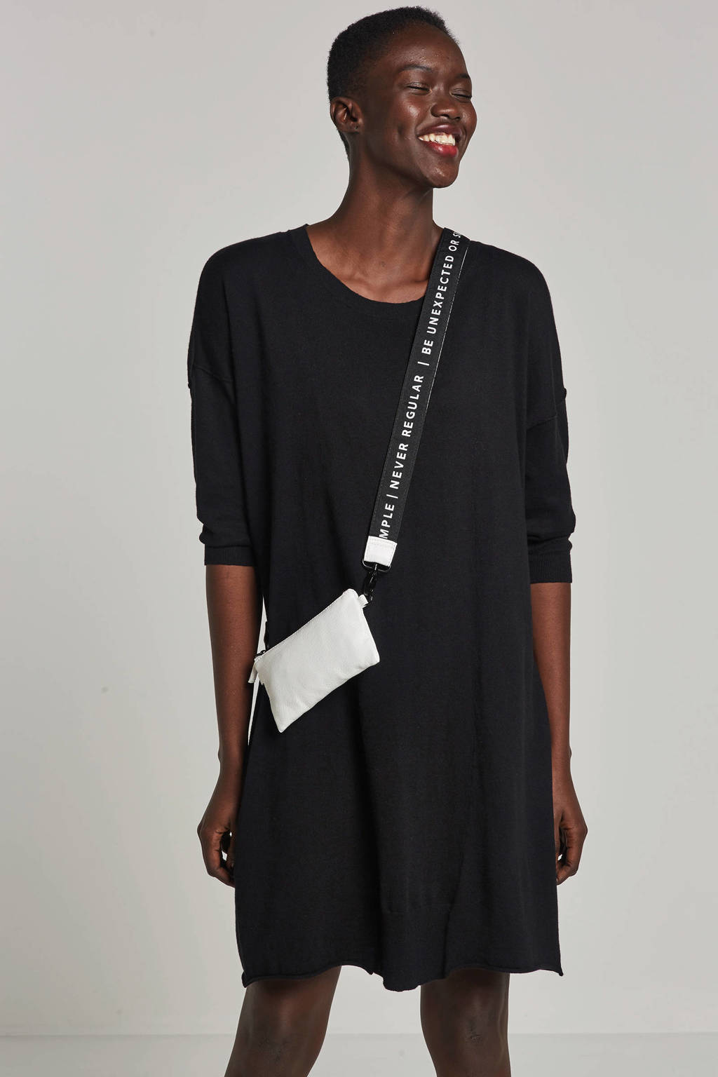 10DAYS jurk met streep, Zwart/wit