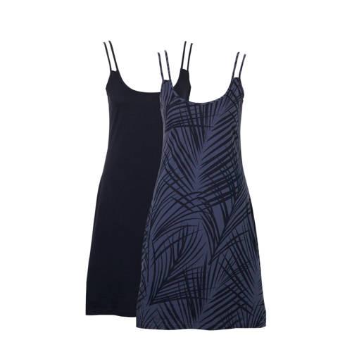 whkmp's beachwave jersey jurk met bladprint donkerblauw blauw
