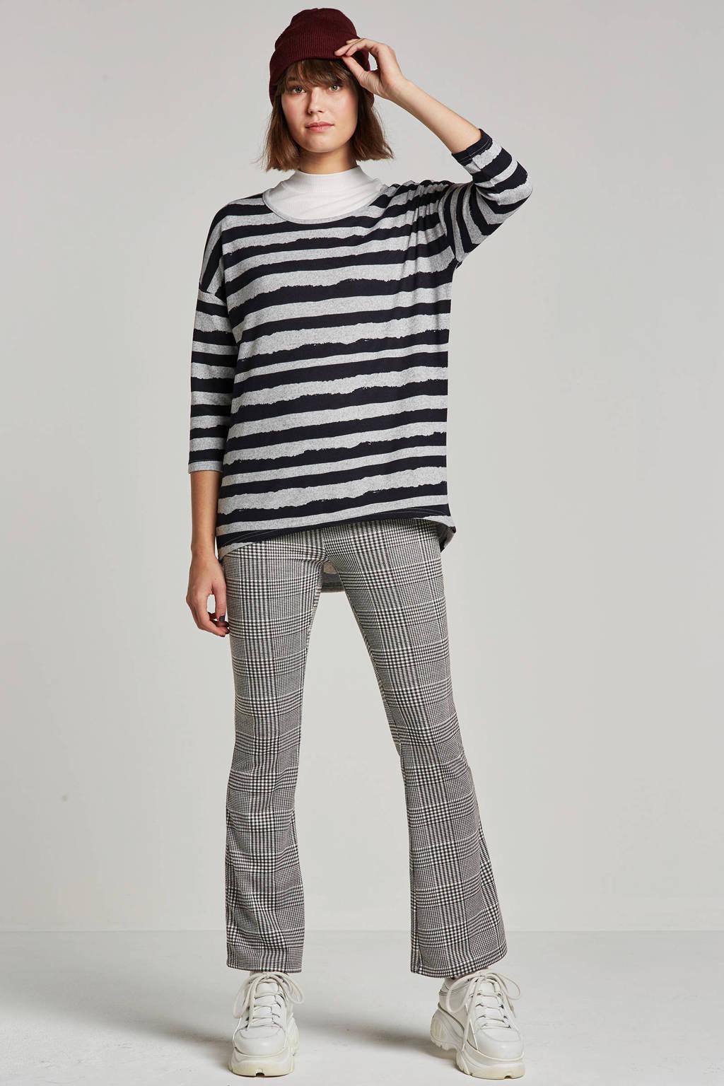 Colourful Rebel flared fit broek pied-de-poule, Zwart/wit
