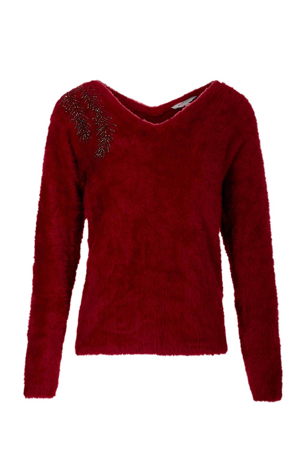 Morgan harige trui met kraaltjes rood, Donkerrood