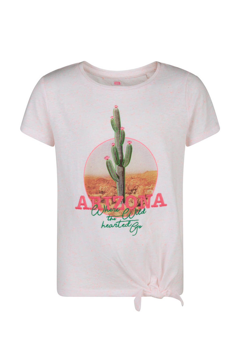 WE Fashion T-shirt met print roze, Lichtroze