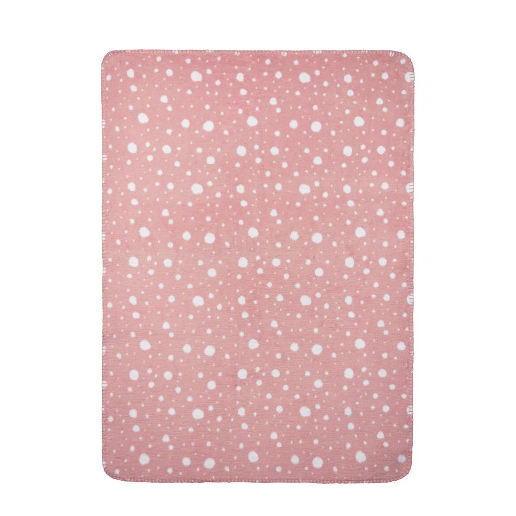 Meyco Dots baby ledikantdeken 120x150 cm wit/oudroze, Lichtroze/wit