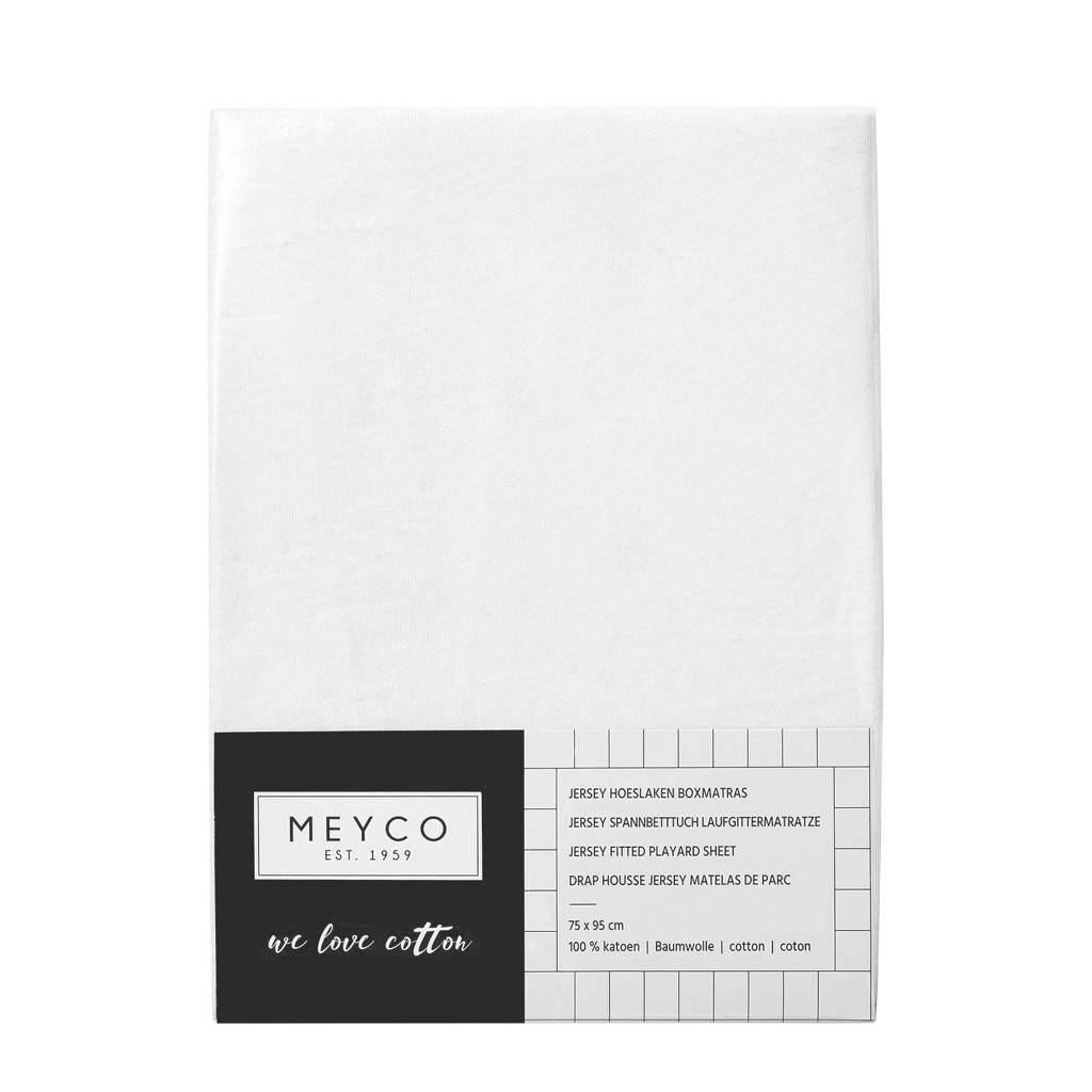 Meyco hoeslaken boxmatras 75x95 cm wit, Wit